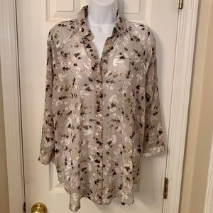 CABI sheer floral button down blouse